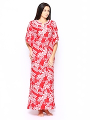 SDL by Sweet Dreams Women Red Printed Nightdress 254074