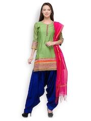 SIA Fashion Women Green & Blue Patiala Kurta Set