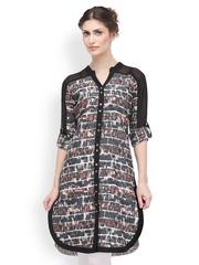 SIA Fashion Women Black Printed Kurta