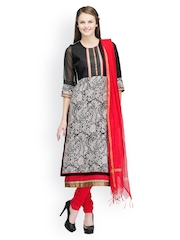 White & Red Embroidered Cotton Churidar Kurta With Dupatta SIA Fashion