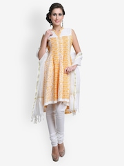 SIA Fashion Women Yellow & White Printed Anarkali Churidar Kurta With Dupatta