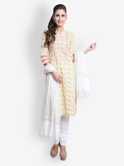 SIA Fashion Women Yellow Churidar Kurta with Dupatta