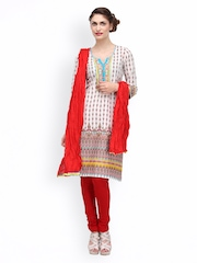 SIA Fashion Women Off-White & Red Printed Churidar Kurta with Dupatta
