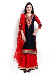 SIA Fashion Women Black & Red Salwar Suit With Dupatta