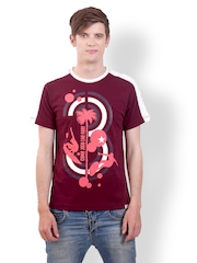 SMOKESTACK Men Wine & Cream Toned Printed T-shirt