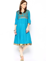 Women Blue Anarkali Kurta SPANDANA