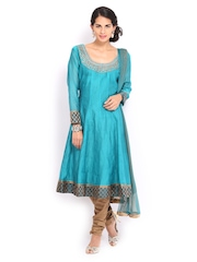 SPANDANA Women Teal Green & Beige Anarkali Churidar Kurta with Dupatta