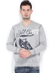 SPYKAR Men Grey Melange Printed Sweatshirt