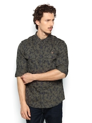 SPYKAR Men Olive Green & Navy Printed Casual Shirt