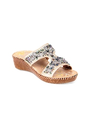 STEPpings Women Light Gold Toned Sandals