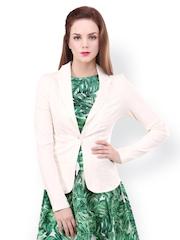 STREET 9 Women Cream-Coloured Tailored Fit Blazer