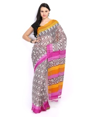 Off-White & Brown Supernet Printed Saree Saee