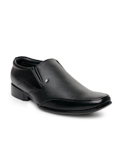 San Frissco Men Black Leather Semi-Formal Shoes
