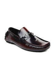 San Frissco Men Burgundy Leather Loafers