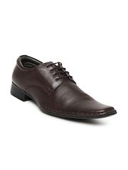 San Frissco Men Brown Leather Formal Shoes