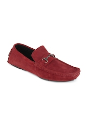 San Frissco Men Red Leather Loafers