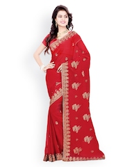 Saree Swarg Maroon Embroidered Faux Georgette Partywear Saree