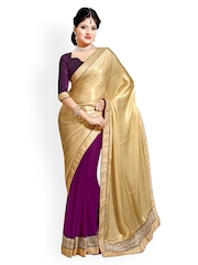 Saree Swarg Beige & Purple Faux Chiffon Partywear Saree