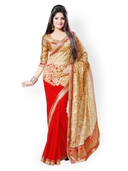 Saree Swarg Beige & Red Faux Georgette Partywear Saree