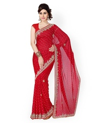 Saree Swarg Red Embroidered Chiffon Partywear Saree