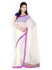 White Faux Georgette Partywear Saree Saree Swarg 408372