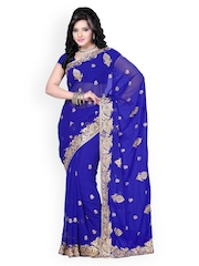 Saree Swarg Blue Embroidered Faux Georgette Partywear Saree