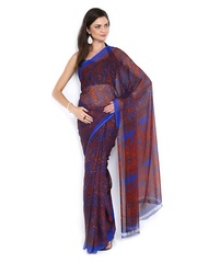 Satrang Blue & Red Chiffon Printed Saree