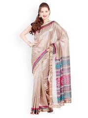 Beige Raw Silk Printed Saree Satrang