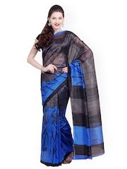 Grey Raw Silk Printed Saree Satrang