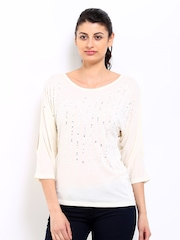 Sbuys Women Cream Coloured Sequinned Top