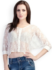 Schwof Women White Lace Crop Top