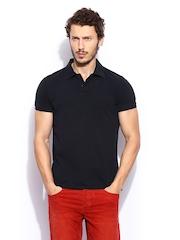 Scotch & Soda Men Black Polo T-shirt