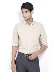 Scullers Men Beige Slim Fit Formal Shirt