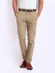 Scullers Men Brown Slim Fit Chino Trousers