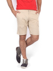 Scullers Men Beige Slim Fit Shorts