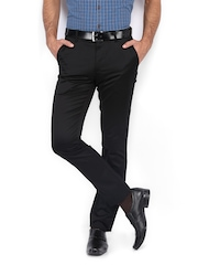 Scullers Men Black Slim Fit Trousers