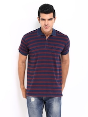 Scullers Men Blue & Red Striped Polo T-shirt