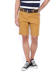 Scullers Men Brown Slim Fit Chino Shorts