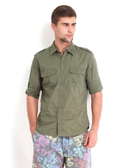 Scullers Men Dark Green Slim Fit Casual Shirt