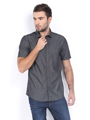 Scullers Men Dark Grey Slim Fit Smart Casual Shirt