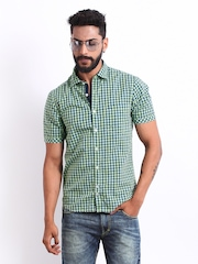 Scullers Men Green & Navy Checked Slim Fit Smart-Casual Shirt