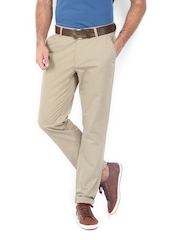 Scullers Men Khaki Slim Fit Chino Trousers