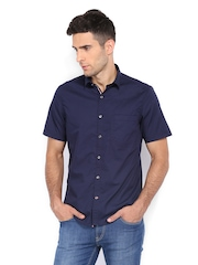 Scullers Men Navy Slim Fit Casual Shirt