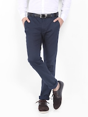 Scullers Men Navy Slim Fit Chino Trousers
