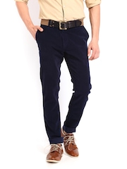 Scullers Men Navy Slim Fit Corduroy Chino Trousers