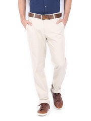 Scullers Men Off-White Slim Fit Chino Trousers