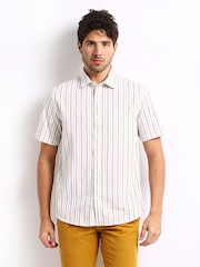 Scullers Men White & Brown Striped Slim Fit Casual Shirt
