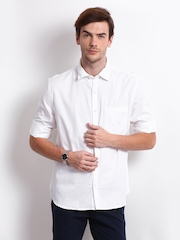 Scullers Men White Slim Fit Casual Shirt