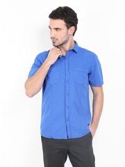 Scullers Sport Men Blue Linen Blend Slim Fit Casual Shirt