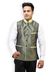 See Designs Men Grey Silk Nehru Jacket
